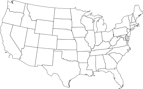 White map of the united states of america