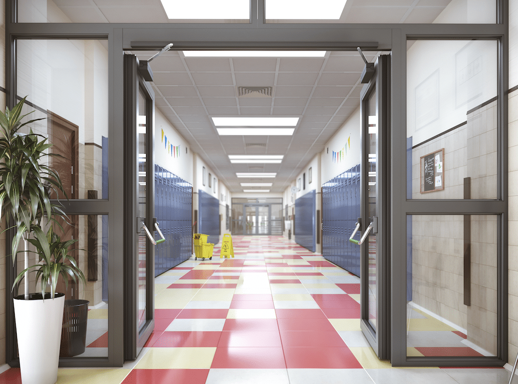 school with state safety grant for secure entryway